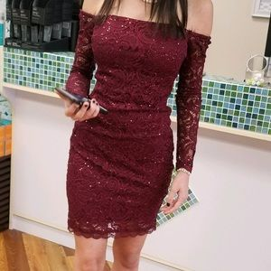 off the shoulder lace burgundy homecoming dress
